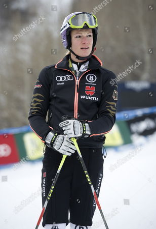 Stock Photo of Maria Hofl-riesch of Germany at the Finish Area After Her Practice Run at the Women's World Cup Alpine Skiing in Aspen Colorado Usa 25 November 2011 United States Aspen