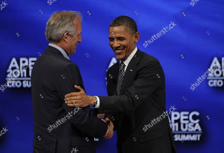 Stock Picture of Us President Barack Obama Shakes Hands with W James (jim) Mcnerney Jr Chairman President & Ceo the Boeing Company at the End of the Apec Leader Interaction with at the Asia-pacific Economic Cooperation Summit Usa Held at the Sheraton Waikiki Ballrooms in Honolulu Hawaii 12 November 2011 United States Honolulu