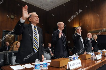 Former Democratic Senator From Pennsylvania Arlen Specter (l) is Sworn-in to Testify with Other Members of a Panel During the 'Senate Judiciary Committee Administrative Oversight and the Courts Subcommittee Hearing on 'Access to the Court - Televising the Supreme Court' on Capitol Hill in Washington Dc Usa 06 December 2011 the Hearing is Investigating Whether Or not Television Media Should Be Allowed to Record Supreme Court Hearings Also in the Picture (l to R); Tom Goldstein Partner at Goldstein & Russell P C ; Mark Cady Chief Justice of the Iowa Supreme Court Anthony Scirica Chief Judge of the Us Court of Appeals For the Third Circuit; and Maureen Mahoney of Counsel Latham & Watkins Llp United States Washington