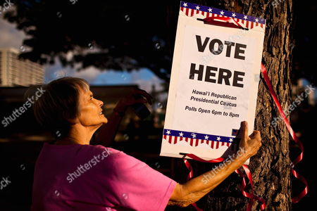 Carol White Prepares to Hang a Sign Before the Start of the Hawaii Republican Presidential Caucus in Makiki District Park on 13 March 2012 in Honolulu Usa This is the First Year the State of Hawaii is Using a Caucus to Decide How Its Delegate Votes Are Used United States Honolulu