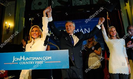 Former Utah Governor and Republican Presidential Candidate Jon Huntsman (c) and His Wife Mark Kay (l) and Daughter Mary Anne (r) Take the Stage During His Primary Night Celebration in Manchester New Hampshire Usa 10 January 2012 the State of New Hampshire Holds the First Primary Election in the Nation United States Manchester
