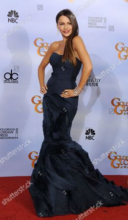 Colombian Actress Sofia Vegara who Acts in 'Modern Family' Which Won Best Television Series - Comedy Or Musical Poses in the Press Room at the 69th Golden Globe Awards Held at the Beverly Hilton Hotel in Beverly Hills Los Angeles California Usa 15 January 2012 United States Beverly Hills