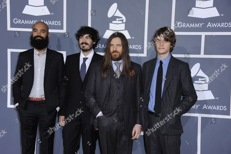 Musicians Morgan Henderson (l-to-r) Casey Wescott Robin Pecknold and Skyler Skjelset of Fleet Foxes Arrives For the 54th Annual Grammy Awards at the Staples Center in Los Angeles California Usa 12 February 2012 United States Los Angeles