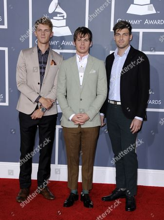Musicians Mark Pontius (l-r) Mark Derek Foster and Cubbie Fink of the Band Foster the People Arrive For the 54th Annual Grammy Awards at the Staples Center in Los Angeles California Usa 12 February 2012 United States Los Angeles