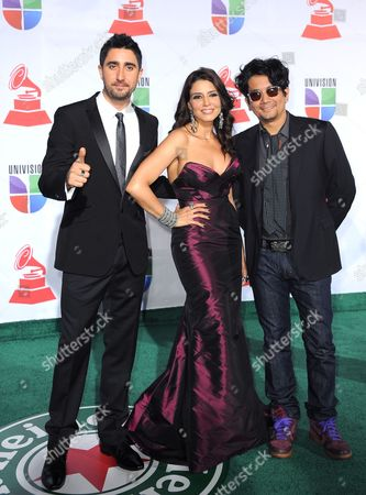 Members of Group Alex Jorge Y Lena(l-r): Panish Alex Ubago Cuban Lena Burke and Colombian Jorge Villamizar Arrive at The12th Annual Latin Grammy Awards in Las Vegas Nevada Usa 10 November 2011 Latin Grammy Awards Recognizes Artistic And/or Technical Achievement not Sales Figures Or Chart Positions and the Winners Are Determined by the Votes of Their Peers-the Qualified Voting Members of the Academy United States Las Vegas
