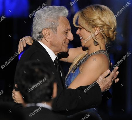 Stock Image of Colombian Singer Shakira (r) Hugs Her Father William Mebarak Chadid (l) at the Latin Recording Academy Person of the Year Tribute to Shakira in Las Vegas Nevada Usa 09 November 2011 Latin Grammy Awards Recognizes Artistic And/or Technical Achievement not Sales Figures Or Chart Positions and the Winners Are Determined by the Votes of Their Peers-the Qualified Voting Members of the Academy United States Las Vegas