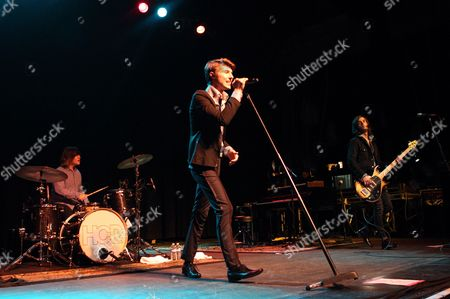Jamie Follese (l) Ryan Follese (c) and Ian Keaggy (r) of the Us Band Hot Chelle Rae Perform at the Murat Egyptian Room in Indianapolis Indiana Usa 01 December 2011 United States Indianapolis
