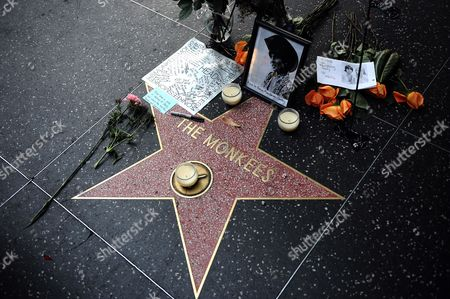 Flowers Photos and Inscriptions Are Placed For British Singer-songwriter Davy Jones on the Star For the Rock Group Monkees in Hollywood California Usa 29 February 2012 in Memory of Jones who Passed Away 29 February 2012 United States Hollywood