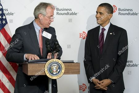 Stock Photo of Us President Barak Obama is Introduced by Boeing Ceo James Mcnerney Jr Prior to Remarks to Members of the Business Roundtable to Discuss Jobs and Economic Growth During a Forum at the Newseum in Washington Dc Usa 06 March 2012 Economists See Slightly Stronger Growth and Hiring Than They Did Two Months Ago Trends That Would Help President Barack Obama's Re-election Hopes United States Washington