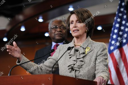 Stock Picture of Us House Minority Leader Nancy Pelosi (r) Delivers Remarks at a Press Conference Beside Democratic Representative From South Carolina James Clyburn (l) on Capitol Hill in Washington Dc Usa 16 December 2011 House Democratic Leadership Criticized House Republicans For Insisting to Tie the Keystone Xl Pipeline Approval with the Payroll Tax Cut and Extension of Unemployment Benefits United States Washington