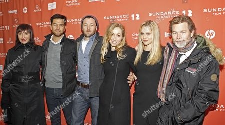 Stock Picture of (l-r) Producer Angie Fielder Actor Antony Starr Actor Joel Edgerton Actress Felicity Price Actress Teresa Palmer and Director Kieran Darcy-smith Right Arrive For the Premier of Their Movie 'Wish You Were Here' at the 2012 Sundance Film Festival in Park City Utah Usa 19 January 2012 the Festival Runs From 19 Until 29 January United States Park City