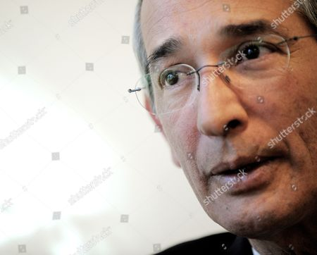 Stock Picture of Alvaro Colom Caballeros President of Guatemala Speaks During an Interview at United Nations Headquarters in New York New York Usa 19 December 2011 United States New York
