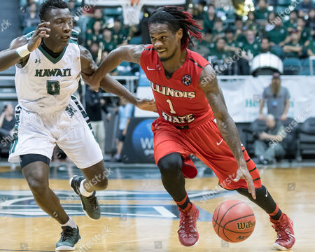 Illinois State Redbirds guard Paris Lee (1) drives past Hawaii Warriors guard Leland Green (0)during day one of the Diamond Head Classic between the Illinois State Redbirds vs. the Hawaii Warriors at the Stan Sheriff Center in Honolulu, HI. - Steven Erler/CSM