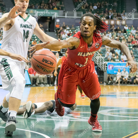 Illinois State Redbirds guard Paris Lee (1) fights for the ball against Hawaii Warriors forward Zigmars Raimo (14) during day one of the Diamond Head Classic between the Illinois State Redbirds vs. the Hawaii Warriors at the Stan Sheriff Center in Honolulu, HI. - Steven Erler/CSM