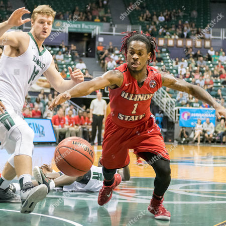 Illinois State Redbirds guard Paris Lee (1) leaps for a loose ball during day one of the Diamond Head Classic between the Illinois State Redbirds vs. the Hawaii Warriors at the Stan Sheriff Center in Honolulu, HI. - Steven Erler/CSM