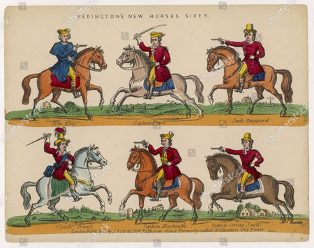 Stock Image of Redington's Horses: Famous Highwaymen Including: Tom King Captain Hawk Jack Sheppard Claude Duval Captain Macheath & Sixteen String Jack Early nineteenth century