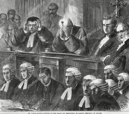 The Judge Baron Martin Puts On the Black Cap Before Sentencing Franz Muller (the Railway Murderer) to Death For the Killing of Thomas Briggs 1864