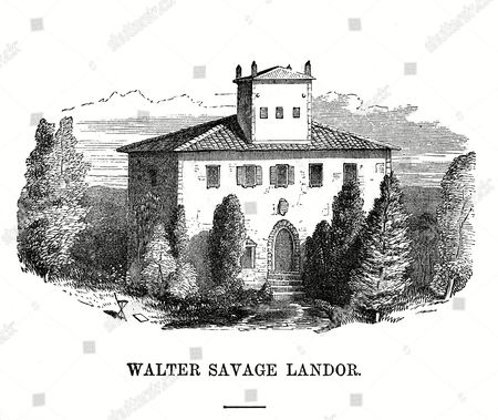 Stock Picture of The Villa of Walter Savage Landor Writer at Fiesole Near Firenze Italy 1840s