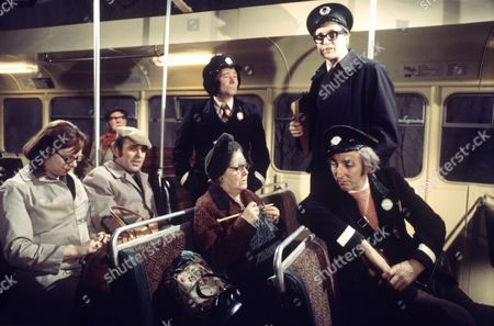 'On The Buses'   TV Episode: Foggy Night L-R.(standing)Reg Varney and Stephen Lewis.(seated) Anna Karen, Michael Robbins, Doris Hare and Bob Grant
