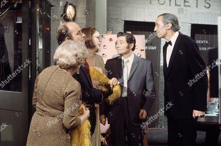 'On The Buses'   TV Episode: Busmen's Ball L-R. Doris Hare,  Michael Robbins, Anna Karen, Reg Varney and Stephen Lewis