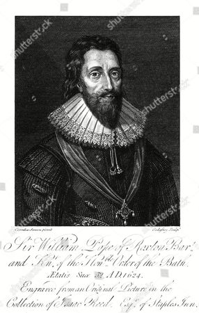 Stock Photo of Sir William Pope First Earl of Downe Statesman Wearing A Fine Falling Ruff 1573 - 1631