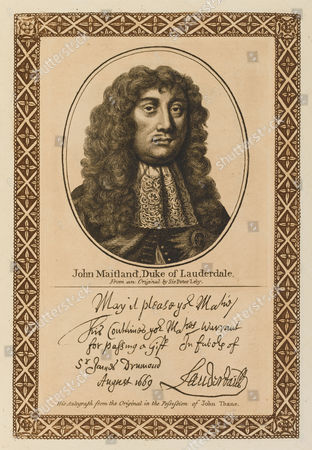 Stock Picture of John Maitland Duke of Lauderdale Buckingham - Scottish Statesman Who 'Enslaved His Country by Every Mode of Oppression; with His Autograph 1616 - 1682