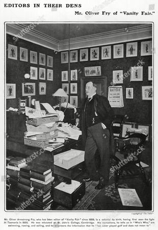 Oliver Armstrong Fry Editor of Vanity Fair Pictured in His Office Surrounded by the Famous Caricatures by 'Spy' Born in Tasmania He Was Educated at St John's College Cambridge 23-Apr-02