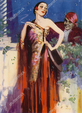 A Spanish Senorita with an Off the Shoulder Fringed Dress A Flower in Her Hair A Fedora Hat and A Cigarette Holder Glances Back at A Potential Suitor Who Appears to Have Legged It Up A Wall to Woo Her 1930