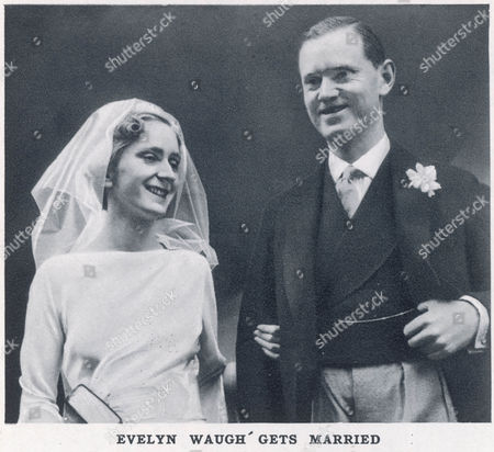 Photograph of English Novelist and Satirist Evelyn Waugh (1903 -1966) On His Marriage to Laura Herbert Which Took Place at the Church of the Assumption Warwick Street London Waugh Had A Brief and Unhappy Marriage to Evelyn Gardner Which Lasted Just Two Years (they Divorced in 1930) and Then Converted to Catholicism Her Married Laura A Catholic in 1937 the Couple Remained Together Until Waugh's Death and Had Seven Children Catholicism Would Become A Key Theme in Waugh's Novels 1937