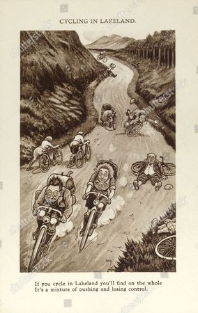 Cycling in Lakeland if You Cycle in Lakeland You'll Find On the Whole It's A Mixture of Pushing and Losing Control !! circa 1920s