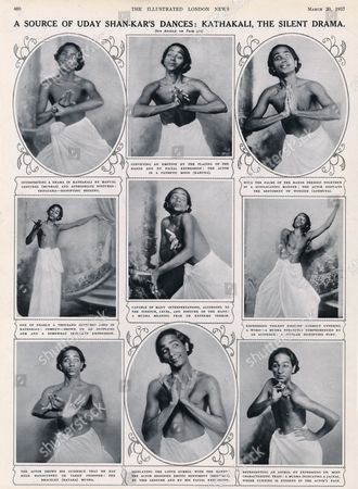 The Renowned Indian Dancer and Choreographer Uday Shankar in A Variety of Poses Influenced by the Dance-drama Form Kathakali Which Originated in Kerala 1937