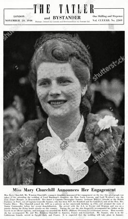 Miss Mary Churchill(b 1922) Mr Winston Churchill's Youngest Daughter Announced Her Engagement On the Day This Photograph Was Taken of Her Attending the Wedding of Lord Burham's Daughter the Hon Lucia Lawson and Lord Woolton's Son the Hon Roger Marquis at Beaconsfield Her Fiance is Lord Soames Son of Captain Granville Soames 1946