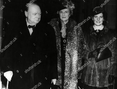 Winston Churchill Arriving at the Free Trade Hall Manchester with His Wife Clementine and His Youngest Daughter Mary(later Baroness Soames)in January 1940 Jan-40