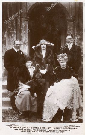 Hrh Princess Mary Princess Royal (1897-1965) Lord Lascelles(1882-1947) 6th Earl of Harewood and Their Son George Henry Hubert Lascelles (future 7th Earl of Harewood;1923-2011) On the Occasion of His Christening the Christening Took Place On 25th March 1923 at St Mary's Church in the Village of Goldsborough Near Knaresborough Adjoining the Family Home Goldsborough Hall 1923