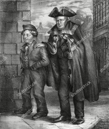 James Wallace the Last of the Town Waites of Berwick Shown Here Holding His Violin Beneath His Coat and Being Guided by A Small Boy c. 1840s