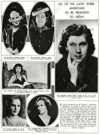 Portrait of Six 'Lucky' American Girls Chosen to Be Presented at Court On 11 May 1938 This Small Number Followed the Announcement That Only Americans Domiciled in the Uk Could Be Considered For Presentation Notable Among the Women Here Presented by Mrs Kennedy Wife of the American Ambassador Joseph Kennedy Are Kathleen ('kick') Kennedy (who Later Married Billy Cavendish Heir to the Devonshire Dukedom) Her Sister Rosemary As Well As (large Picture Right) Miss Rosamond Harris Siedel Miss Virginia Lee Howard (middle Left) Mrs Douglas Jenkins (bottom Left) and Mrs Warren Sewell Lockwood (bottom Right) 1938