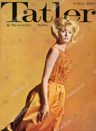 Front Cover of the Tatler Magazine Celebrating the Start of London Fashion Week and Featuring Sixties Model Jill Kennington Wearing A Classic Ballgown with Satin Skirt and Ruffled Bodice in Nylon Chiffon by Jean Allen Lipstick by Yardley Hair by Olofson 1963