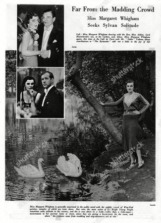 Exhausted From Her Relentless Socialising (and Appearances in Society Magazines Like the Bystander!) Miss Margaret Whigham (1912-1993) Later Mrs Charles Sweeny Then Duchess of Argyll Seeks Some Peace and Quiet Away From the Photographer's Lens at Her Parents' Home in Ascot Photograph Shows Her Posed Next to Swans On A Pond While the Inset Photographs Shows Her in A More Familiar Environment with Th Hon Max Aitken Son of Lord Beaverbrook at the Carlton and with Eddie Tatham Sometime Contributor to the Bystander at the Cafe De Paris It's A Hard Life 1932