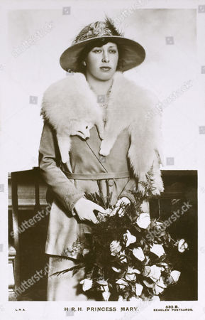 Princess Mary (1897 - 1965) - Daughter of Prince George Later King George V & the Duchess of York Later Queen Mary Married Viscount Lascelles Reluctantly in 1922 Lascelles Proposed to Her After A Wager at His Club She Lived Under 6 British Monarchs Pictured Here Wearing A White Arctic Fox Fur Pelt and Holding A Large Bouquet of Roses circa 1913