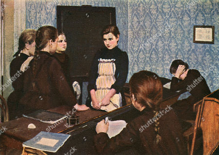 Stock Picture of The New Pupil - Painting by Emily Shanks (1857-1936) - British Artist Living in Moscow 1928
