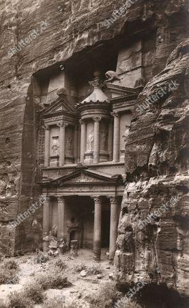 Petra - the Treasury (al Khazneh) Jordan - the Fallen Pillar Was Restored in the 1960s - 4th Century Bc Building of the Nabatean Culture circa 1920s