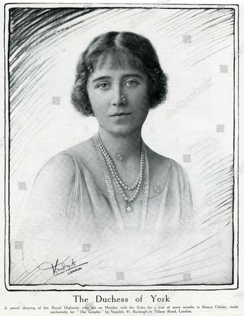 Elizabeth Wife of George Vi A Photograph That Has Been Overworked/retouched in Crayon; Taken Just Before She Left with the Duke For A Tour of Some Months in Kenya 1900 - 2002