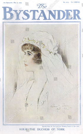 Lady Elizabeth Angela Margeurite Bowes-lyon (1900 - 2002) Duchess of York Later Queen Elizabeth the Queen Mother Specially Drawn For the Bystander Wedding Number by Alan Stern in Her Bridal Veil She Married Prince Albert Duke of York at Westminster Abbey On 26 April 1923 1923
