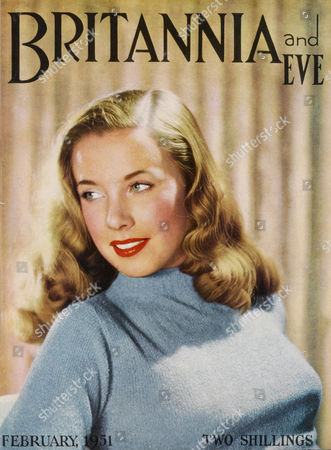 Front Cover of Britannia and Eve Magazine Featuring A Blonde 'Sweater Girl' Model with an Impressive Torpedo Bust and Wavy Veronica Lake Hairstyle 1951