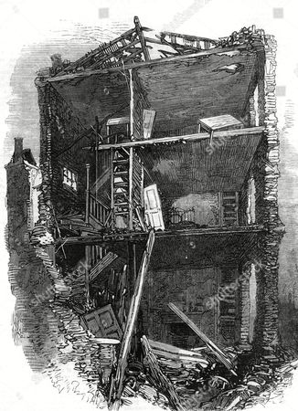 Damage to A House Interior in Corporation Lane East London Caused by the Gunpowder Explosion at Clerkenwell Prison an Attempt to Free Two Fenian Prisoners Burke and Casey the Explosion Caused Loss of Life and Many Injuries As Well As Great Damage to Neighbouring Buildings and Houses 1867