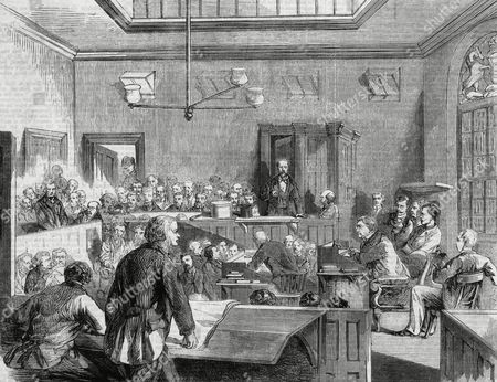 The Trial of Franz Muller For the Murder of Thomas Briggs in A Train Carriage in 1864 Here Muller is Being Cross Examined in the Dock at Bow-street Magistrates' Court Muller's Hat A Key Part of the Case Stands Next to Him 1864