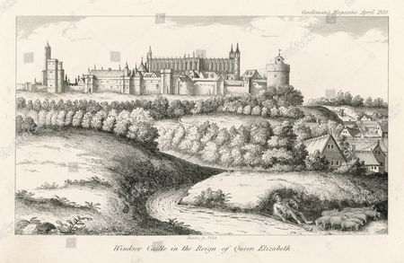 The Castle During the Reign of Queen Elizabeth with A Shepherd and His Flock in the Foreground circa 1590