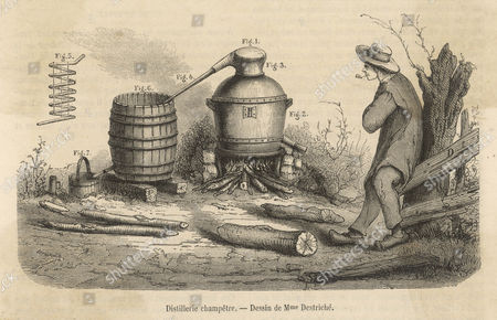 French Rustic Distillery: Yokel Smokes His Pipe As He Watches the Still late 19th Century