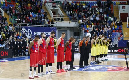 A minute of silence for the Russian ambassador killed in Turkey, Andrey Karlov, during the Euroleague basketball match between CSKA Moscow and Fenerbahce Istanbul in Megasport Arena in Moscow, Russia, 23 December 2016.