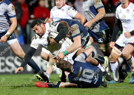 Ulster vs Connacht. Ulster's Charles Piutau is tackled by Connacht's Jack Carty and Sean O?Brien